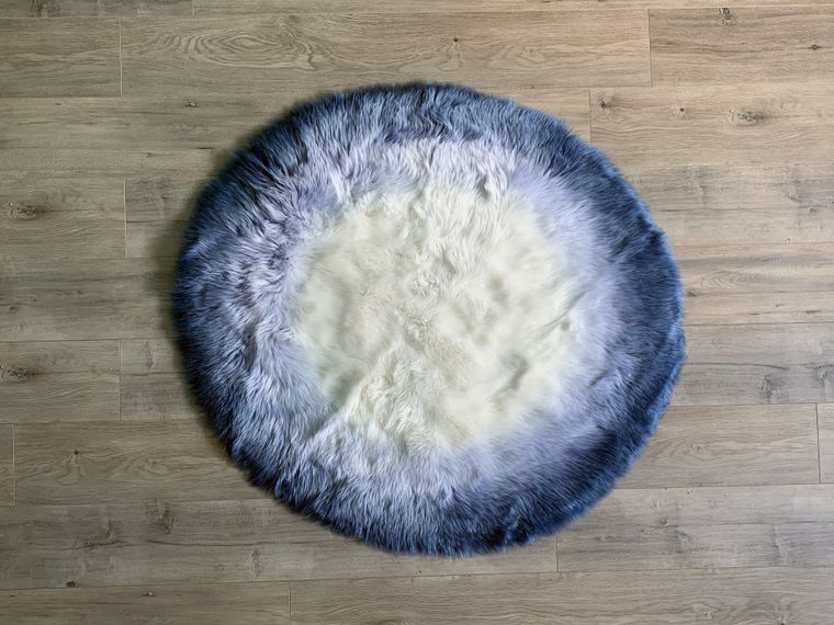 Machine Washable Faux Sheepskin Ombre Blue/White Round Area Rug