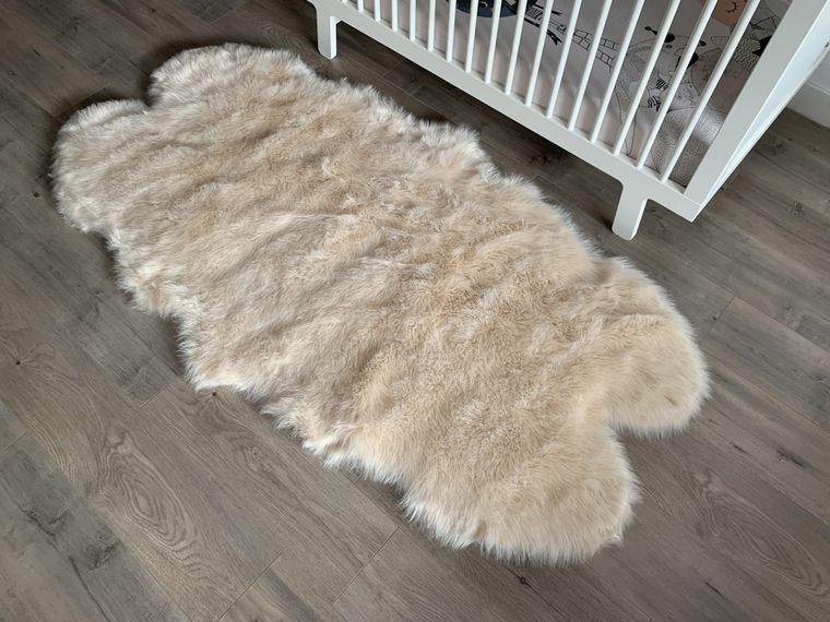 Machine Washable Faux Sheepskin Champagne Double Area Rug