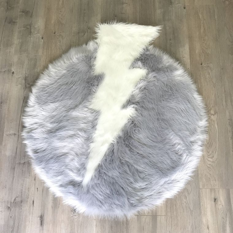 Machine Washable Faux Sheepskin Thunderbolt Light Grey and White Area Rug