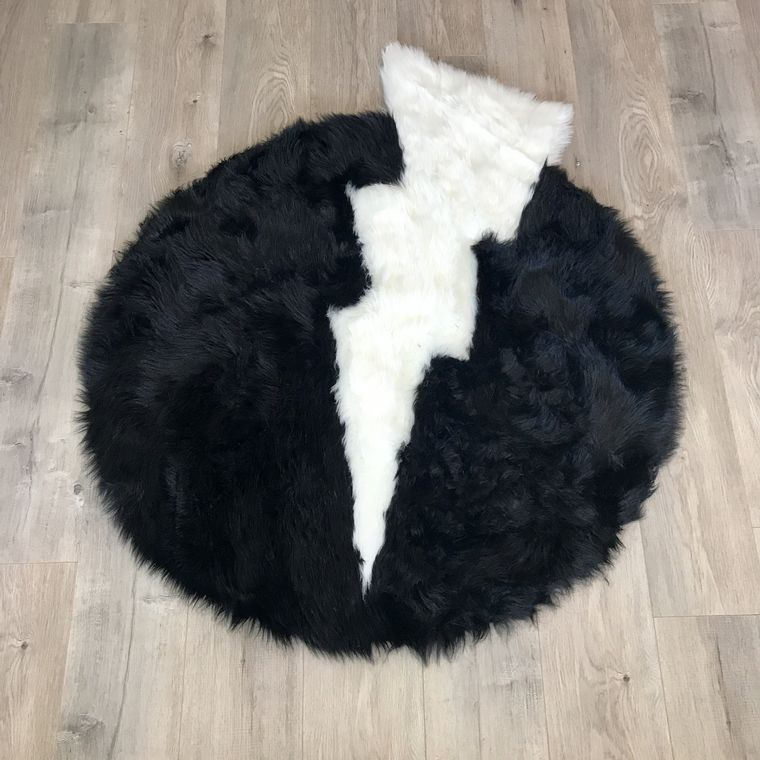 Machine Washable Faux Sheepskin Thunderbolt Black and White Area Rug
