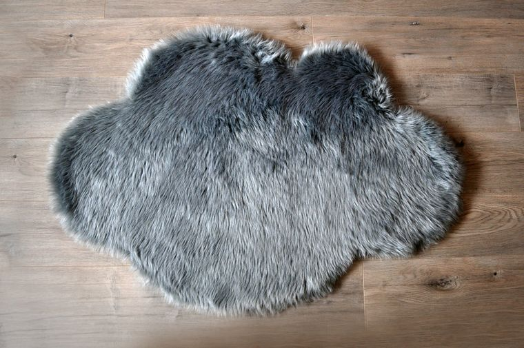 Machine Washable Faux Sheepskin Grey Cloud Area Rug