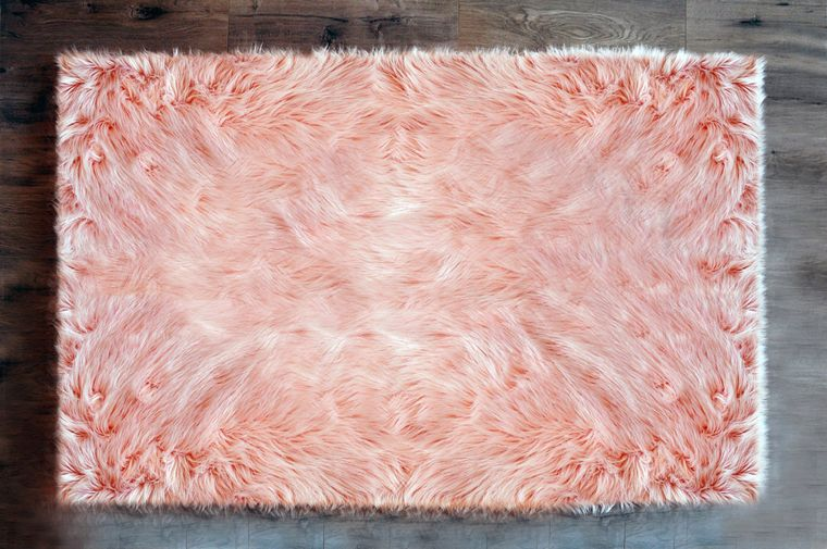 Machine Washable Faux Sheepskin Area Rug 4' x 6' - Blush