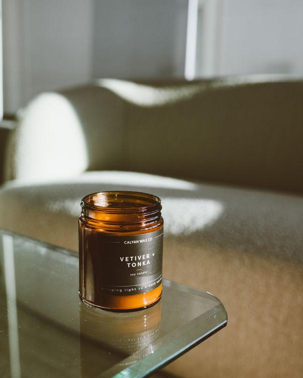 Amber Jar Soy Candle - Vetiver / Tonka