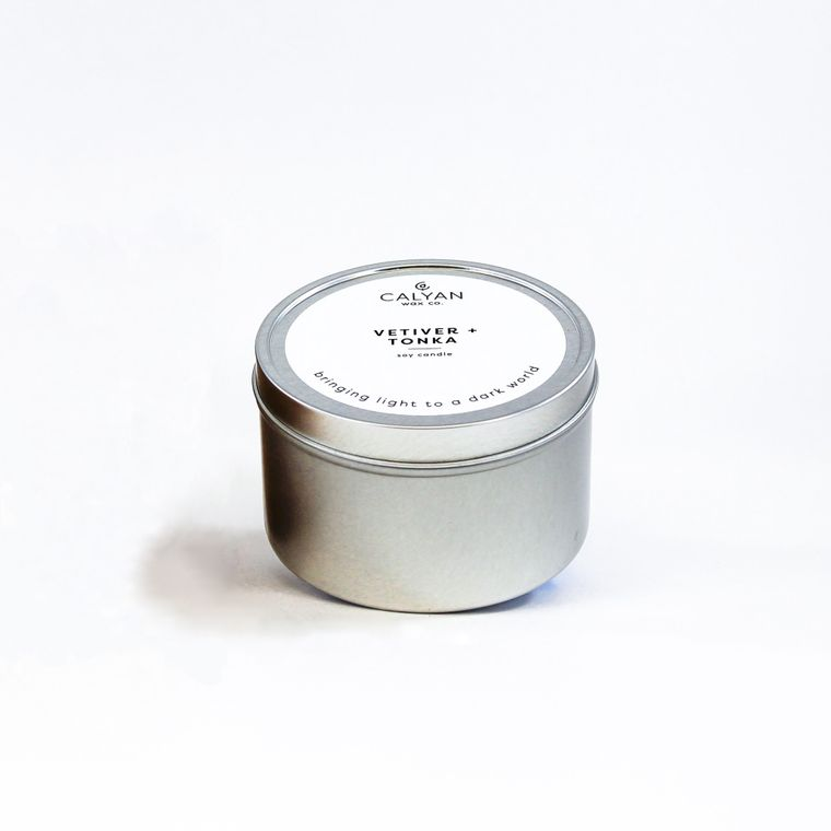 Vetiver + Tonka Metal Tin Candle