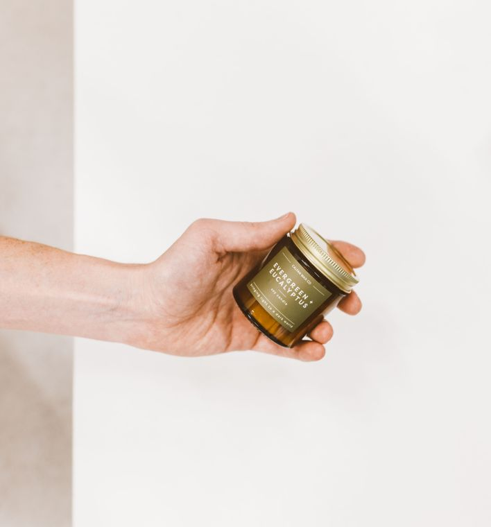 Evergreen + Eucalyptus Mini Amber Jar Soy Candle