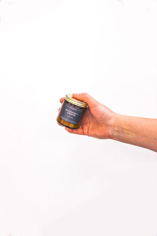 Oakmoss + Amber Mini Amber Jar Soy Candle