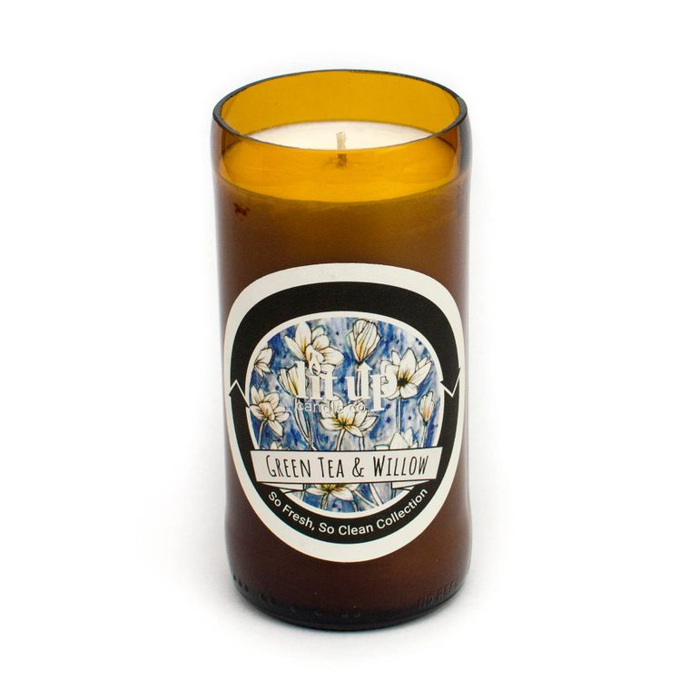 8 oz. Green Tea and Willow soy candle in beer bottle