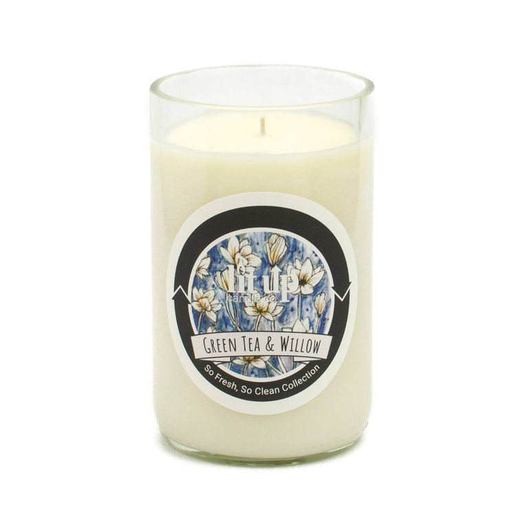 12 oz. Green Tea and Willow soy candle in wine bottle