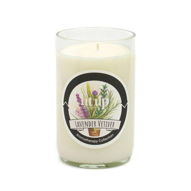 12 oz. Lavender Vetiver soy candle in wine bottle