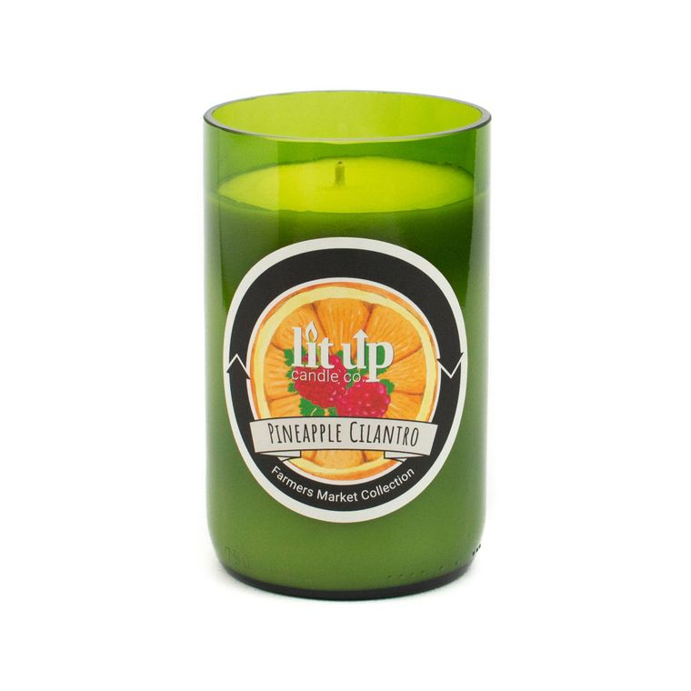 12 oz. Pineapple Cilantro soy candle in wine bottle