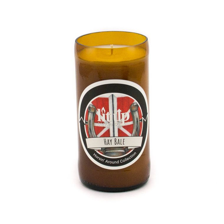 8 oz. Hay Bale soy candle in beer bottle