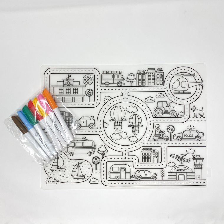 Silicone Reusable Coloring Tablemat with markers set for kids ABC Animals