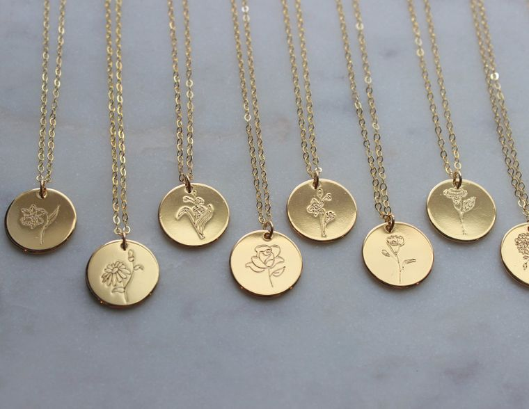 Gold Birth Flower Necklace, Birth Flower Jewelry, Personalized Necklace