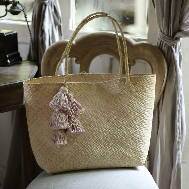 Borneo Sani Straw Beach Bag with Blush Tassels (7-9 days)