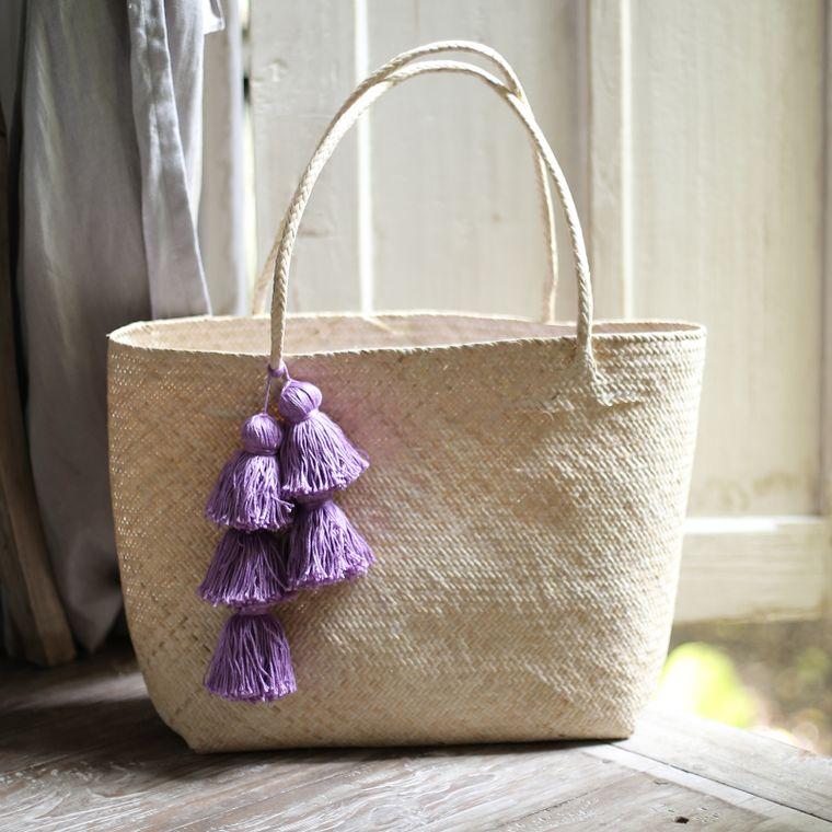Borneo Sani Straw Tote Bag - with Purple Tassels (7-9 days)