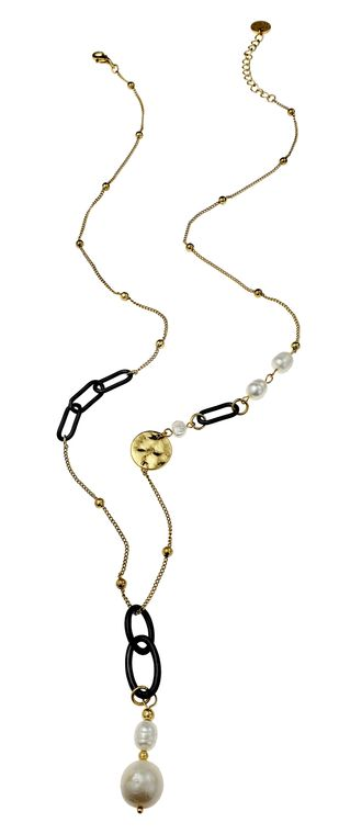 Fernanda-Matte gun metal/gold chain link necklace with pearl