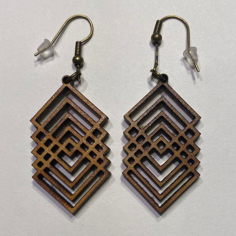 Lightweight wood earrings