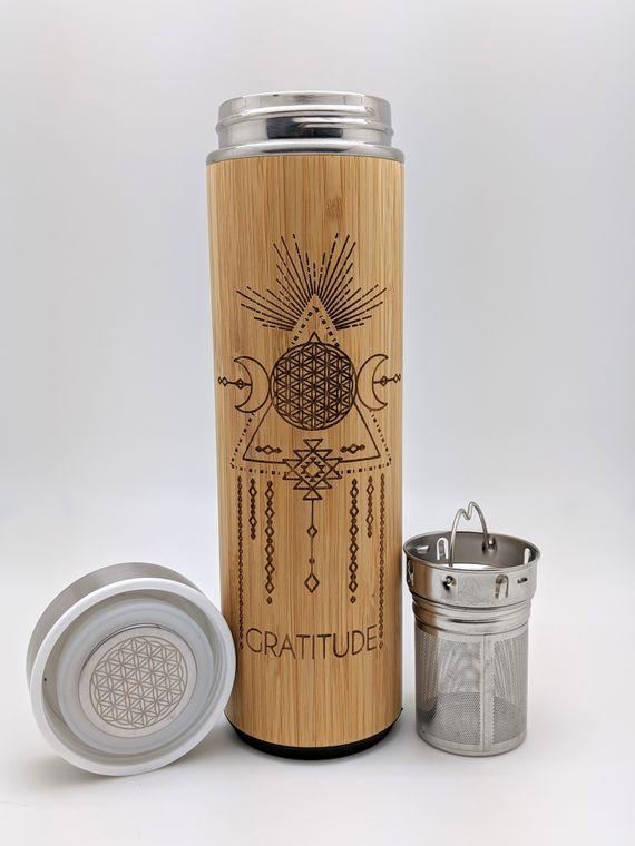 17.9oz GRATITUDE Bamboo Water Bottle