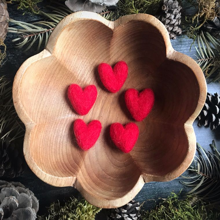 Felted wool heart, Red