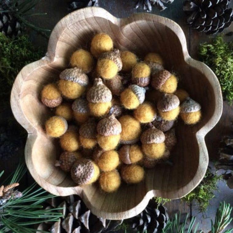 Felted wool acorn, Saffron Yellow