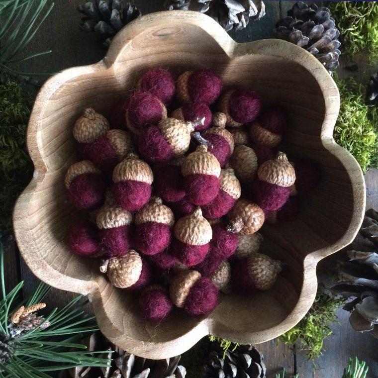 Felted wool acorn, Garnet Red