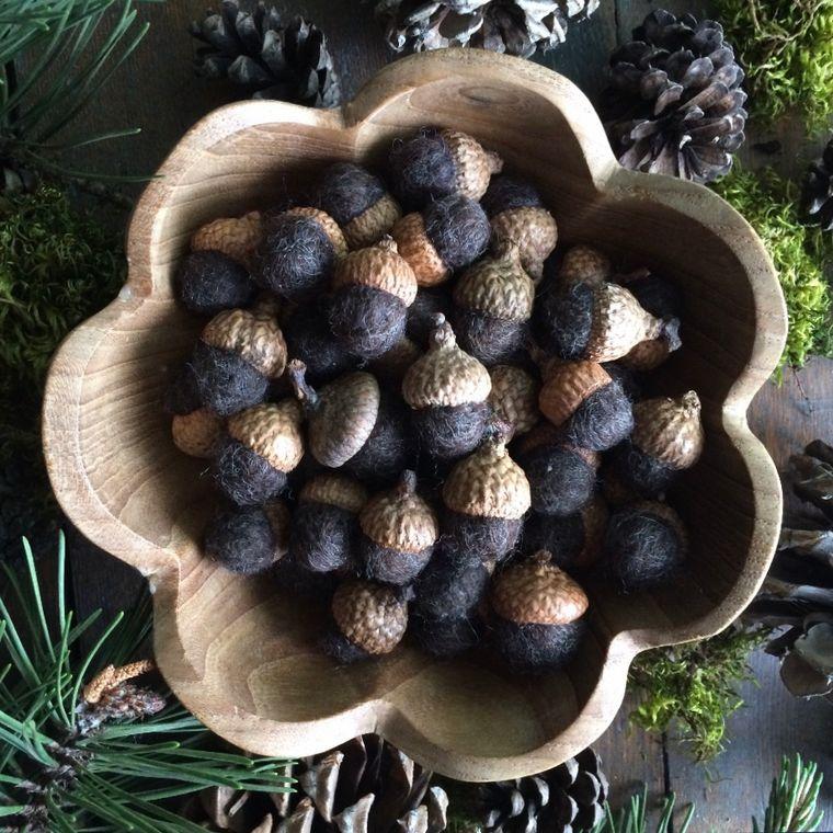 Felted wool acorn, Dark Brown Heather