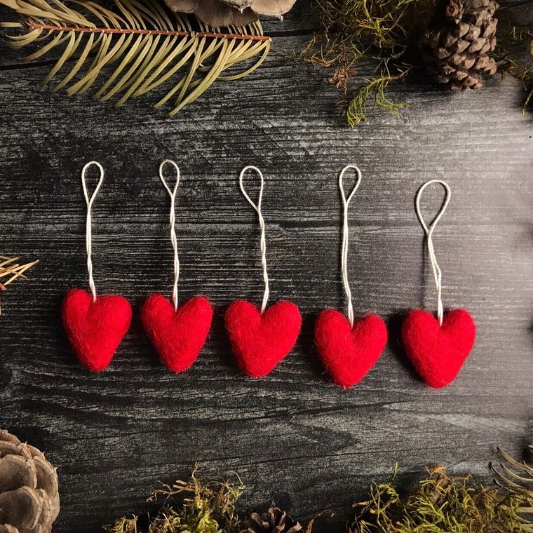Felted wool mini heart ornament, Red