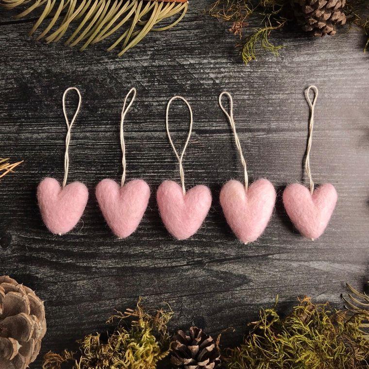 Felted wool mini heart ornament, Heavenly Pink