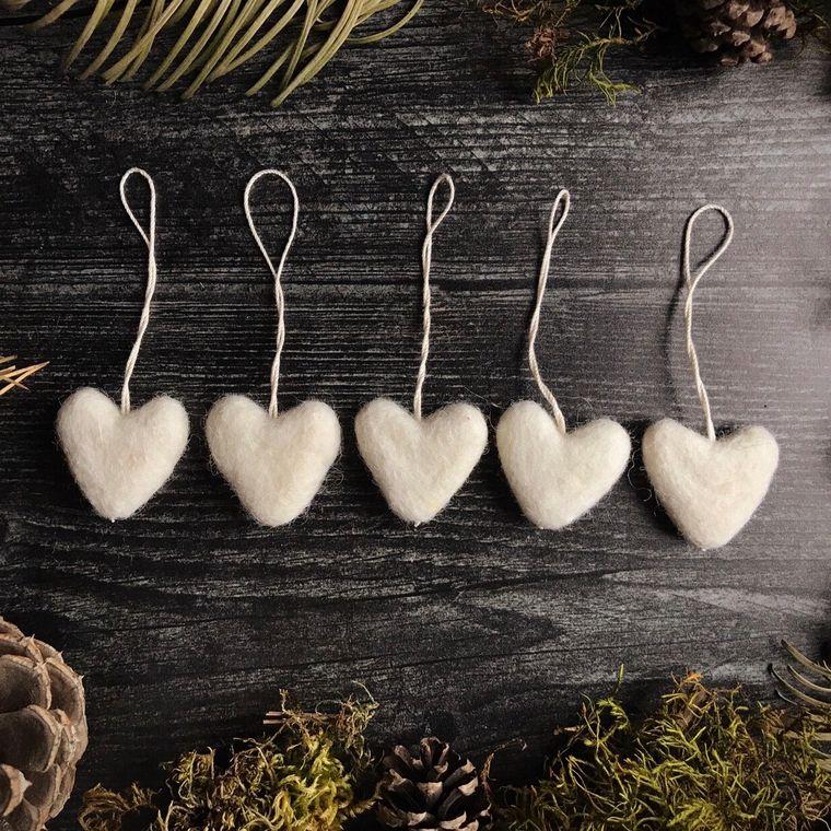 Felted wool mini heart ornament, Dusty White