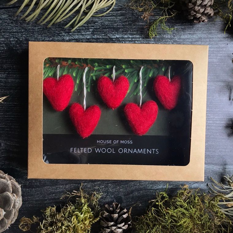 Felted wool mini heart ornaments, boxed set of 5, Red