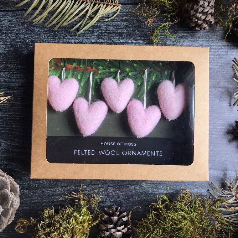 Felted wool mini heart ornaments, boxed set of 5, Heavenly Pink