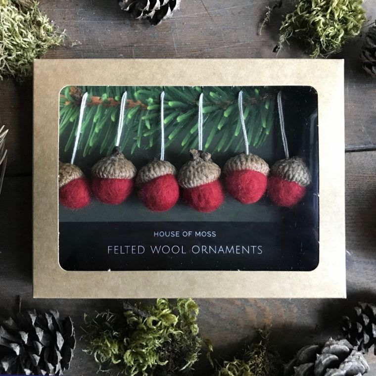 Felted wool acorn ornaments, boxed set of 6, Red