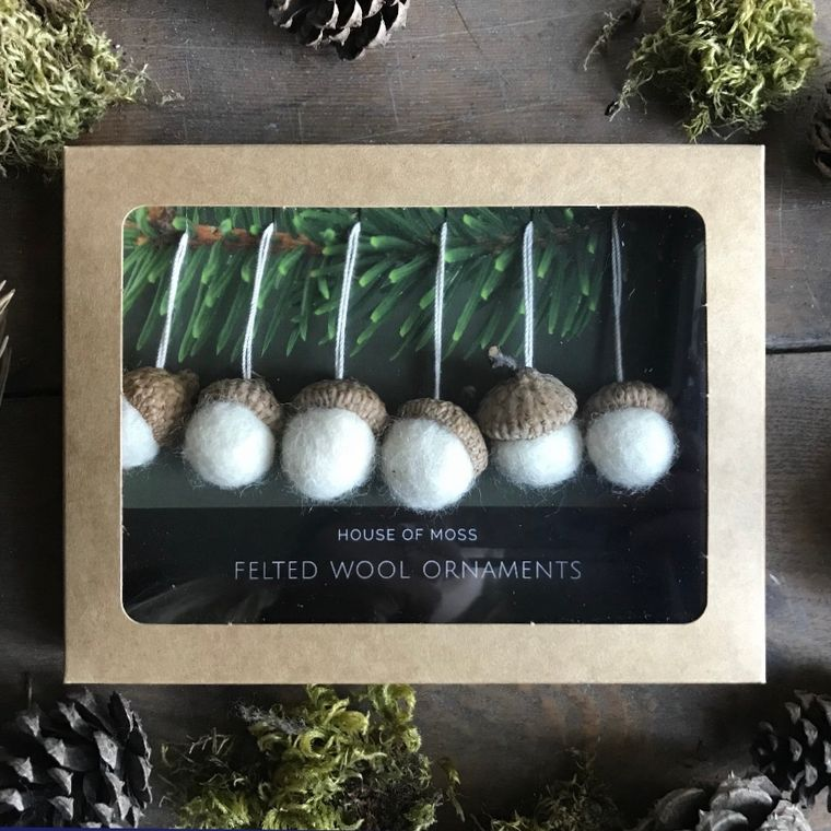 Felted wool acorn ornaments, boxed set of 6, Natural White