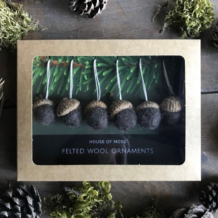 Felted wool acorn ornaments, boxed set of 6, Dark Brown Heather
