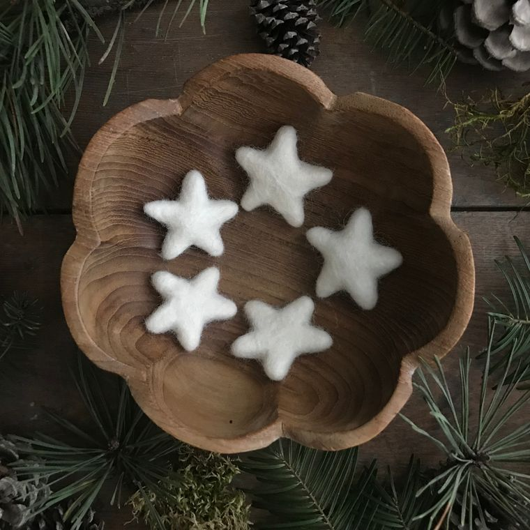 Felted wool star, Dusty White