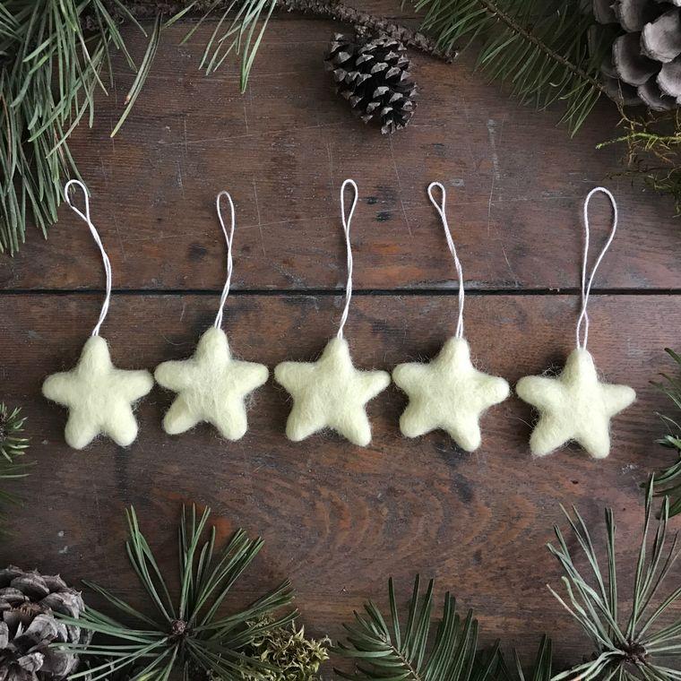 Felted wool mini star ornament, Lemon