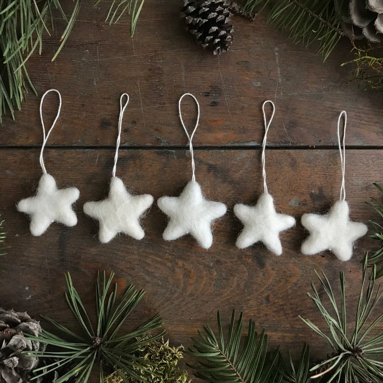 Felted wool mini star ornament, Dusty White
