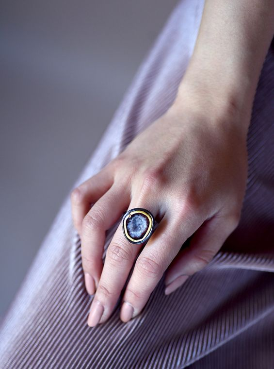 Natural Geode Ring with Diamond