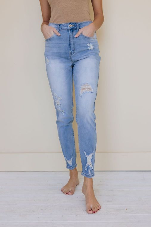 Feel Love Distressed Jeans