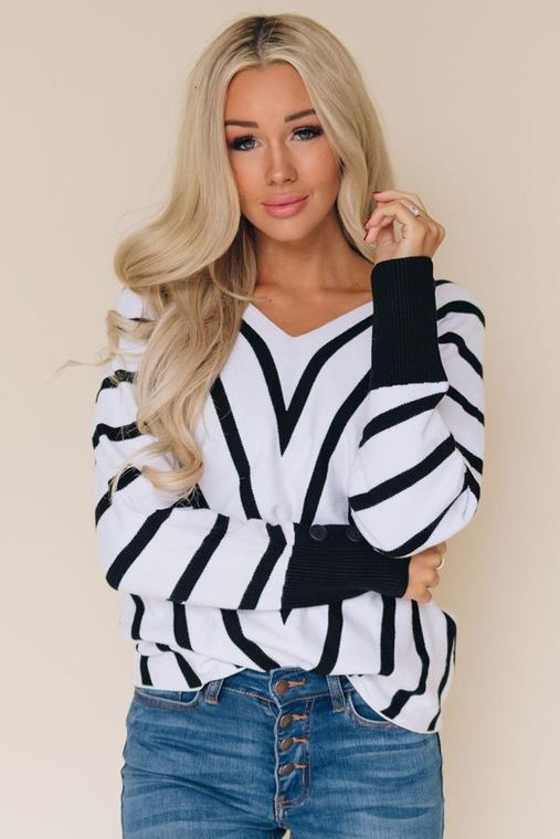 Go Big Or Go Home Striped Sweater