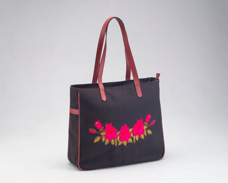 Canvas Embroidered Tote bag with Leather Handles