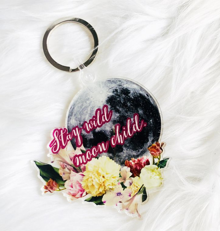 Stay wild moon child keychain, moon accessories, cute keychain for women