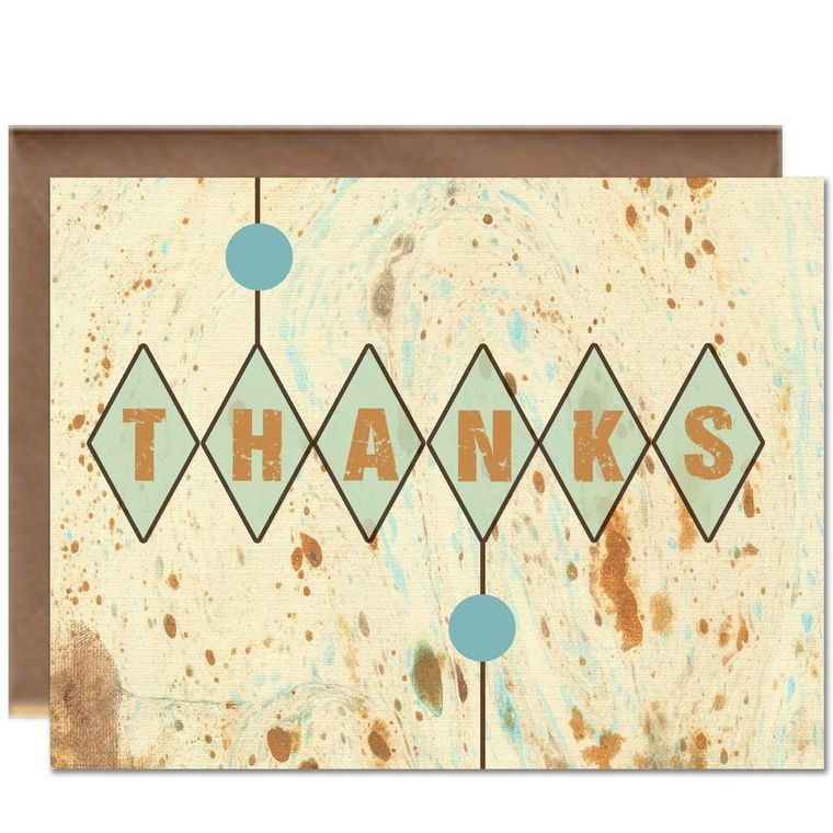 Harlequin Wood Thank You Card