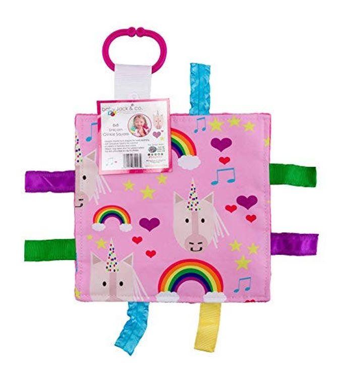 Unicorn Rainbows Hearts Crinkle Tag Square 8x8 Baby Sensory Toy