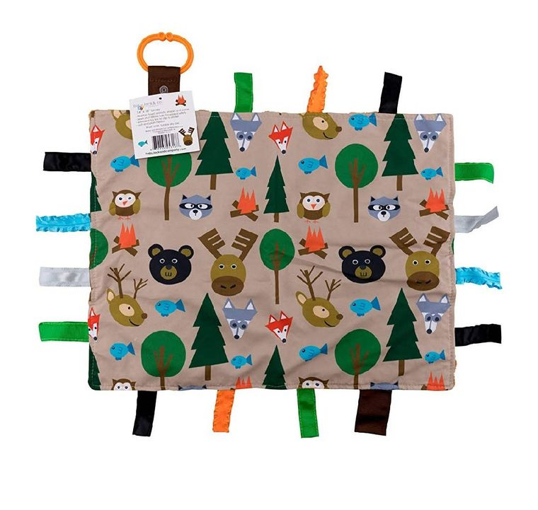 """Forest Animals Taggy Comfort Blanket Learning Lovey 14 x 18"""""""