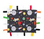 """Space Stars Rockets Taggy Blanket Learning Lovey 14"""" x 18"""