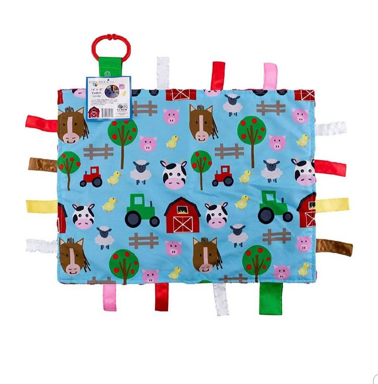 "Farm Animals Taggy Comfort Blanket Learning Lovey 14"" x 18"""
