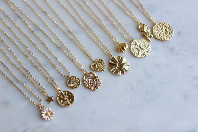 Gold Layering Necklace, Celestial Necklace, Gold Layered Jewelry, Gold Dainty Jewelry