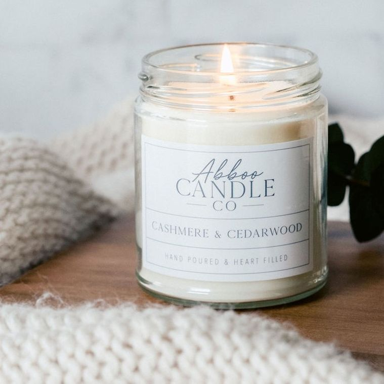 Cashmere & Cedarwood Soy Candle by Abboo Candle Co