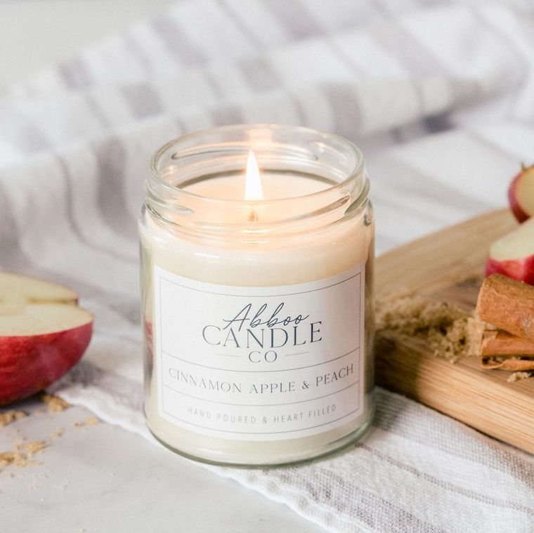 Cinnamon Apple & Peach Soy Candle by Abboo Candle Co